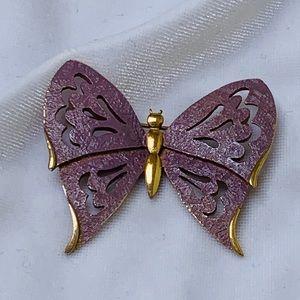 Vintage NAPIER Lilac Enamel Butterfly Brooch